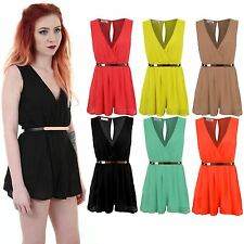 Ladies Sleeveless Low V Neck Wrapped Front Belted Chiffon Short Women's Playsuit