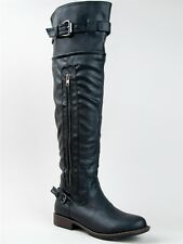 NEW BAMBOO Women Basic Over the Knee High Buckle Hot Riding Boot sz Black