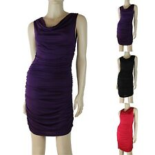 Sexy Draped Cowl Neck Dress Ruched Shirred Side Sleeveless Plain Solid Bodycon