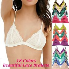 Floral Sheer Lace Triangle Low-Cut Bralette Bra Unpadded Lined Mesh Elastic Band