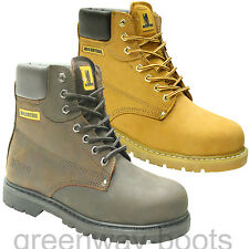 NEW MENS BROWN SAND LEATHER SAFETY WORK HIKER BOOTS STEEL TOE CAP ANKLE LACE UP