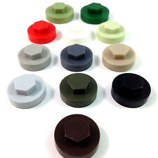 "16mm HEXAGONAL TEK SCREW COVER CAPS TO FIT 8mm (5/16"") TEK SCREWS - 13 COLOURS"