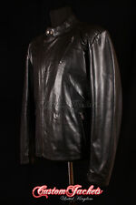 Men's TONY STARK Black Hollywood Movie Film Thin Real Cowhide Leather Jacket