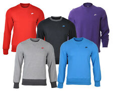 Nike Mens Crew Neck Fleece Lined Sweatshirt Jumper Polycotton 5 Colours