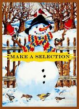SCENIC WINTER CHRISTMAS SNOWMAN BIRDS RABBITS FABRIC PANELS (MAKE A SELECTION)