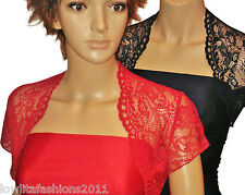 Ladies short sleeve Red or Navy Lace Bridesmaids Bolero/Shrug Sizes 8,10,12,14