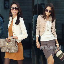 New Fashion Women Long Sleeve Button Slim Fitted Peplum Cropped Jacket Cardigan