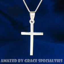 Sterling Silver Plain Thin Cross Necklace with 925 Chain -  you choose length!