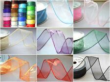 50mm wired organza chiffon ribbon flowers wedding 2 5 20m lengths CHOOSE COLOUR