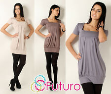 ♥ Elegant Womens Mini Dress Square Neck ♥ Short Sleeve Top Tunic Sizes 8-18 8943