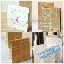 Lots 3 Pcs Of Kraft Party Holiday Paper Gift Bags-Bowknot/ English Newspaper
