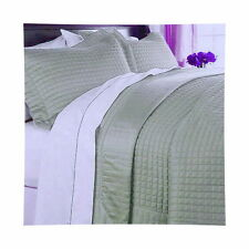 Hotel MODERN Reversible SOLID Sage Green Quilt Coverlet Set Twin Queen King