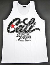 New CALI Tank Top Vintage California Republic Bear White Tee Adult Mens S,M,L
