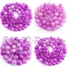 6.10.12mm Smooth Round Shape Candy Purple Jade Gemstone Spacer Loose Beads 15""