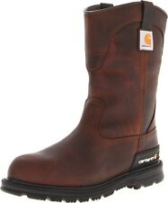 "Carhartt Men's 11"" Unlined Wellington Brown Leather Safety Toe Work Boot CMU1242"
