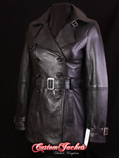 Ladies 'PARIS' Black Real Lambskin Leather TRENCH COAT Belted Jacket Stylish Mac