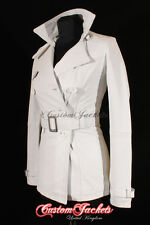 Ladies PARIS White Real Lambskin Leather TRENCH COAT Belted Jacket Stylish Mac