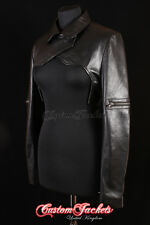 Ladies SHRUG Black GIG Ghost In The Shell Real Leather Womens Long Sleeve Bolero