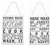 HOUSE KITCHEN RULES HANGING WOODEN PLAQUE SIGN MESSAGE DOOR WALL NEW HOME GIFT