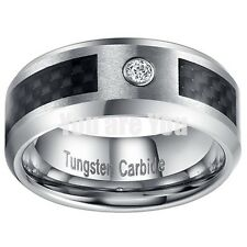 TUNGSTEN Black Fiber Inlay w/ CZ Stone Mens Ring 8mm Wedding Band Unique