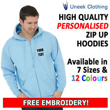 Personalised Uneek Embroidered Zip up Hoodies with Free Text. Customised UC504