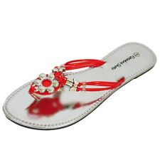 LADIES RED SLIP-ON FLAT SANDAL FLIP-FLOP SUMMER SHOE LARGE SIZES 9-13 EUR 43-47
