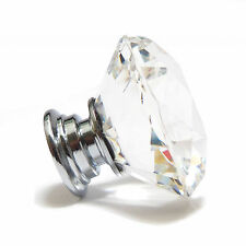 Crystal Glass Diamond Faceted Cupboard/Drawer Door Knob - Clear - 30/40/50mm