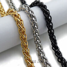 "MENS 6MM Gold/Black/Silver 16""~36"" Stainless Steel Wheat Braided Chain Necklace"