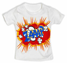 Girls Zap Print T Shirt Kids Printed Top Short Sleeve Cotton New Age 2 - 7 Years