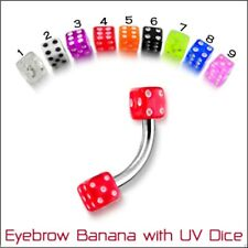 UV Dice Surgical Steel Curved Ear Eyebrow Body Piercing Bar 10 Colours 8mm 16g