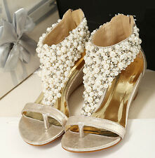 Golden Sexy Womens Pearl Mid Heel Wedge T-Strap Flat Sandals Wedding Party Shoes