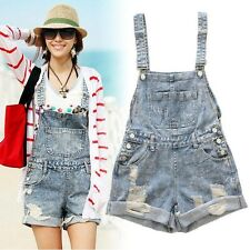 Womens Distressed Washed Jeans Denim Hole Jumpsuit Romper Crimping Overall Short