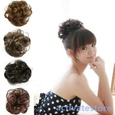 Women Girl Pony Tail Fake Hair Extension Bride Bun Hairpiece Scrunchie Wavy Hair