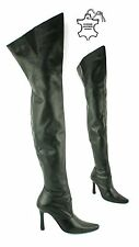 LADIES WOMENS REAL LEATHER OVER THE KNEE THIGH HIGH HEEL SEXY KINKY BOOTS SHOES