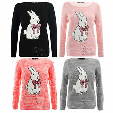 AD24 Ladies Easter Rabbit Knitted Jumper Womens Animal Printed Sweater Top