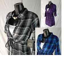 Womens Smart Casual Lightweight Grey Check Tunic Anytime Cotton Top  6  UK