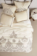 NEW Anthropologie Silver Samirah Embroidered Duvet Cover King 100% Cotton