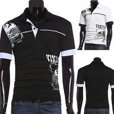 Stylish Men's Slim Fit Stand Collar POLO Shirt Short Sleeve Casual T-shirts Tops