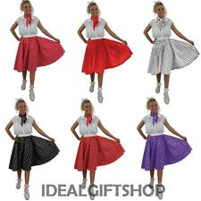 ADULTS LONG ROCK AND ROLL SET POLKA DOT SKIRT FANCY DRESS COSTUME 1950'S 50'S