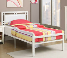 NEW BINGUM BYCAST LEATHER HEADBOARD WHITE FINISH METAL TWIN or FULL PLATFORM BED