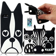 3D ANIMALS DESIGN SOFT SILICONE RUBBER CASE COVER FOR IPHONE 4G 4S 5G 5S W/ FILM