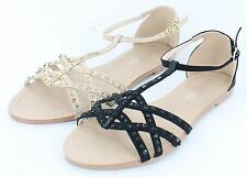 Spot On Flat Strappy T-Bar Sandal With Diamante Detail