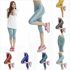 Womens Pants Athletic Apparel Yoga Sports Workout Exercise Cropped Trousers New