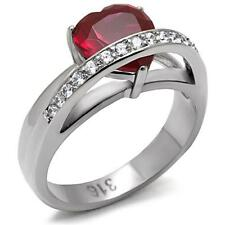 Women's Heart Ruby Red CZ Stainless Steel Love Engagement Band Promise Ring