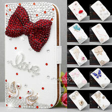 2014 New Design Handmade Manual Bling White Wallet Stand Leather Hard Case Cover