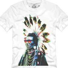 New Short Sleeve Cotton Graphic Men's T-shirt Tops Tee-indian chief eagle