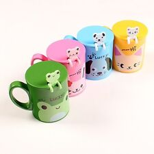 Creative cute animals Lid cartoon cup coffee cup plastic covered with a spoon
