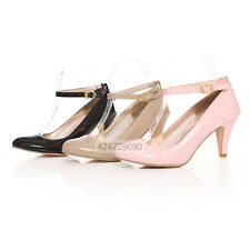 Women Office Ladies Kitten Heels Sandals Ankle Strap Pumps Shoes US Size YD318