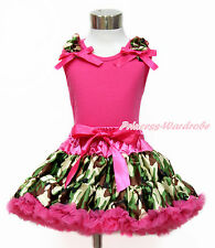 Ruffle Hot Pink Bow Hot Pink Top Hot Pink Camouflage Baby Girl Pettiskirt 1-8Y