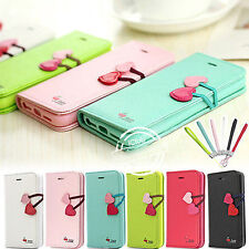 CUTE CHERRY PU LEATHER FLIP WALLET STAND CASE COVER FOR IPHONE 4G 4S 5G 5S 5C